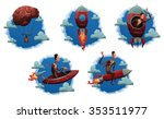 set of cloud labels with... | Shutterstock .eps vector #353511977