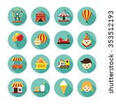 amusement park flat icons set ...   Shutterstock .eps vector #353512193
