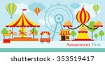 amusement park  carnival  fun... | Shutterstock .eps vector #353519417