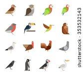 Stock vector flat design vector birds icon set owl eagle hawk griffin crow flat zoo children cartoon 353532143