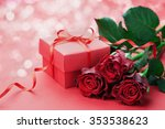 Gift Box With Bow Ribbon And...