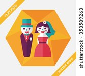 wedding couple flat icon with... | Shutterstock .eps vector #353589263
