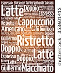 list of coffee drinks words... | Shutterstock .eps vector #353601413