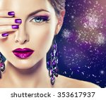 Girl Fashion Model With Purple...