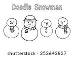set of various doodle snowman...