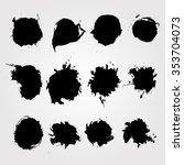 set of hand drawn ink blot.... | Shutterstock .eps vector #353704073