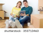 portrait of young couple with... | Shutterstock . vector #353713463