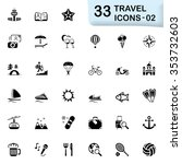 back travel and vacation icons | Shutterstock .eps vector #353732603
