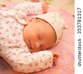 newborn baby is fast asleep... | Shutterstock . vector #353781317