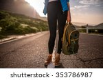 female traveler holding... | Shutterstock . vector #353786987
