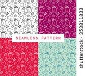 home cartoon pattern valentine... | Shutterstock .eps vector #353811833
