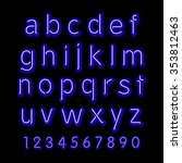 neon glow alphabet.  design... | Shutterstock . vector #353812463