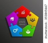 five piece flat puzzle round...   Shutterstock .eps vector #353845667