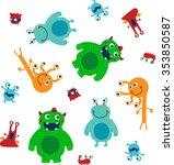 seamless pattern of monster... | Shutterstock .eps vector #353850587