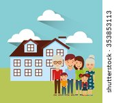 happy family design  vector... | Shutterstock .eps vector #353853113