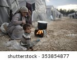 syrian refugees families who... | Shutterstock . vector #353854877