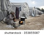 syrian refugees families who... | Shutterstock . vector #353855087