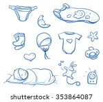 set of baby sleeping icons ... | Shutterstock .eps vector #353864087
