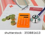 medical bill with stethoscope   ... | Shutterstock . vector #353881613