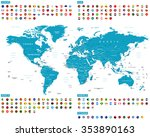 all round flags and world map... | Shutterstock .eps vector #353890163
