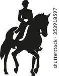 rider riding a dressage horse | Shutterstock .eps vector #353918597