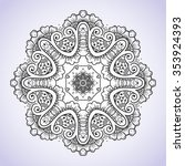 circular black and white floral ... | Shutterstock .eps vector #353924393