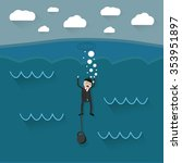 cartoon drowning businessman... | Shutterstock .eps vector #353951897
