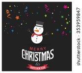 cute snowman christmas... | Shutterstock .eps vector #353959847