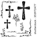 set of engraving cross with... | Shutterstock .eps vector #353972477