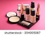cosmetics on pink background | Shutterstock . vector #354005087