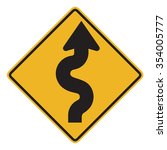 winding road sign isolated on... | Shutterstock . vector #354005777