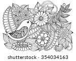 bird and wildflowers
