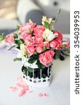 beautiful rose in vase on table ... | Shutterstock . vector #354039953