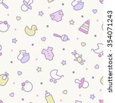 Seamless pattern. Pastel colors. Thin line icons of baby items. Also for printing on paper and fabric.  | Shutterstock vector #354071243