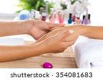 woman in salon receiving... | Shutterstock . vector #354081683