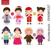 kids in traditional costume ... | Shutterstock .eps vector #354089237