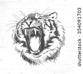 Tiger Head Silhouette   Vector...