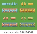 set of cartoon buttons with...