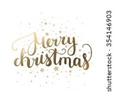 merry christmas card with hand... | Shutterstock . vector #354146903