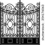 elegant iron gate vintage... | Shutterstock .eps vector #354176063