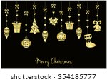merry christmas greeting card.... | Shutterstock .eps vector #354185777