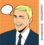 man wink comics vector with... | Shutterstock .eps vector #354185957
