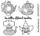 vector set tea kettles from... | Shutterstock .eps vector #354240527