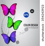 butterflys on a swirl... | Shutterstock .eps vector #354243923