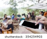 woman using touch screen mobile ... | Shutterstock . vector #354254903