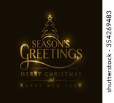 hand sketched seasons greetings ... | Shutterstock .eps vector #354269483