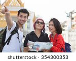 traveling man woman and senior... | Shutterstock . vector #354300353