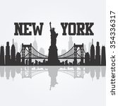 new york city skyline detailed... | Shutterstock .eps vector #354336317