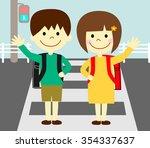 children to raise their hands... | Shutterstock . vector #354337637