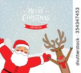 santa claus and  deer.... | Shutterstock .eps vector #354347453